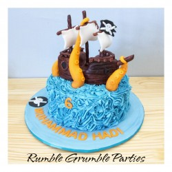 pirate ship cake with octopus