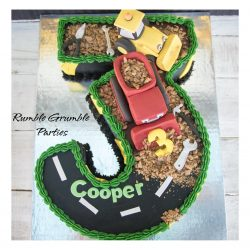 Number 3 Construction Cake